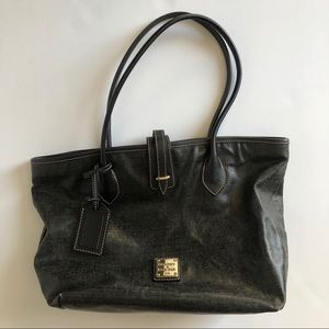 Dooney & Bourke Black Tote Purse Red Lining